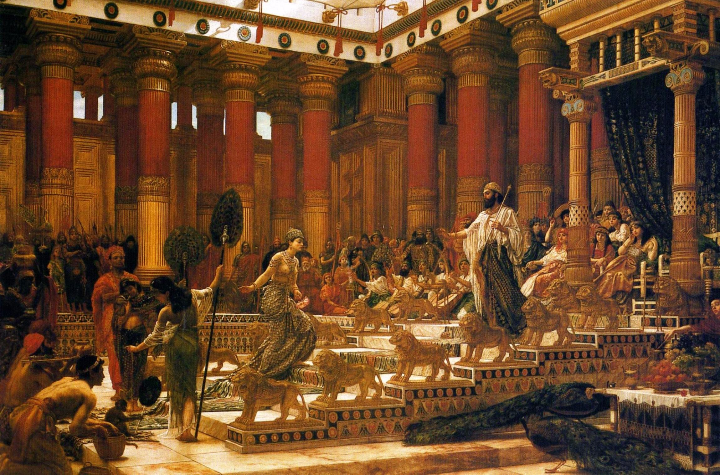 This 1890 oil painting depicts the Queen of Sheba's visit to the court of King Solomon, whose wealth was and is legendary.