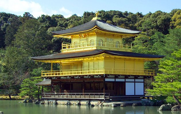 Kinkakuji (the Golden pavilion) in Kyoto: The Japanese tradition of rebuilding religious shrines through a continuous process of maintenance, repair and renovation means that, even before the 1950 fire, no single material piece of this building dated to its original construction in 1397.