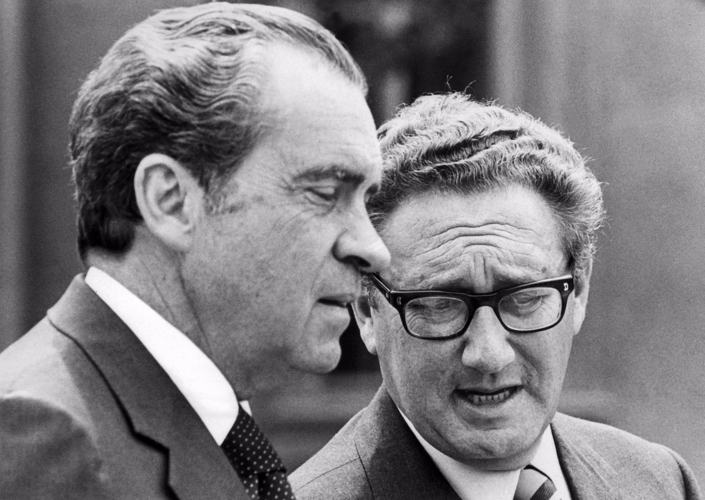 President Richard Nixon speaks with National Security Advisor Henry Kissinger during a trip to Salzburg, Austria in May 1972.