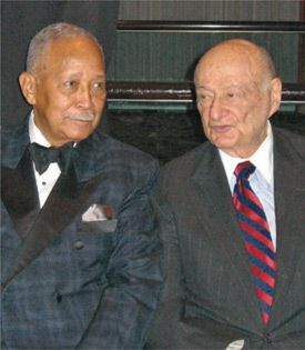 Supporting a Cause: Mayors Dinkins, left, and Koch at the New York Police and Fire Widows? & Children?s benefit.
