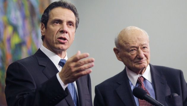 I?m With Schmuck: Ed Koch stands beside Governor Andrew Cuomo, whom he once described with a common Jewish epithet.
