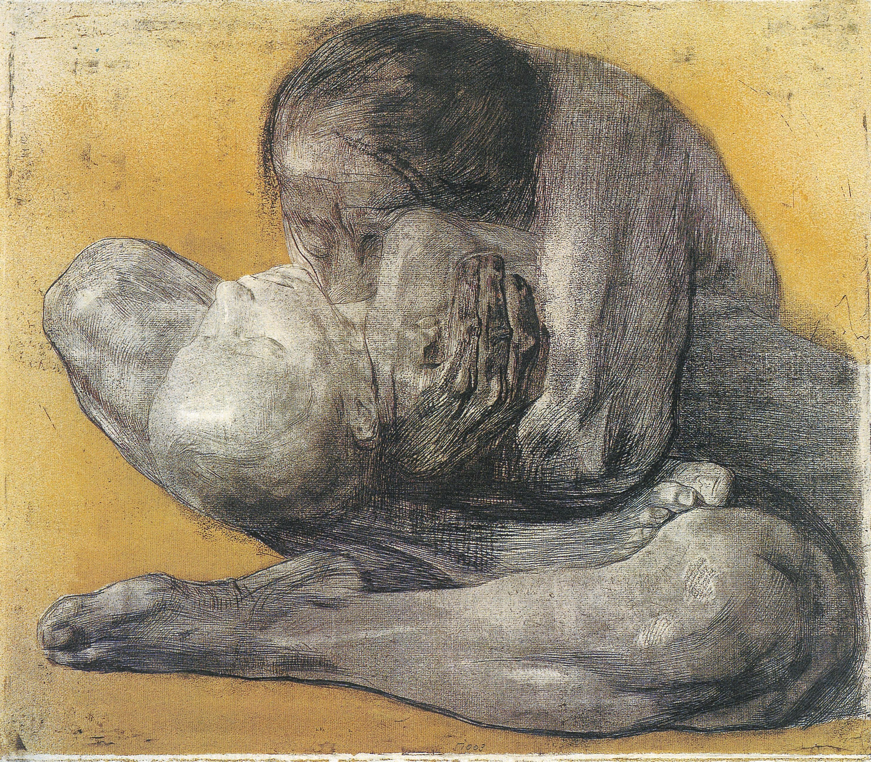 Woman With Dead Child:  A 1903 etching by Kathe Kollwitz.