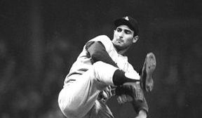 Play Ball: Dodgers? pitcher Sandy Koufax, pictured here in Los Angeles, was ranked as the No. 2 greatest Jewish baseball player of all time.
