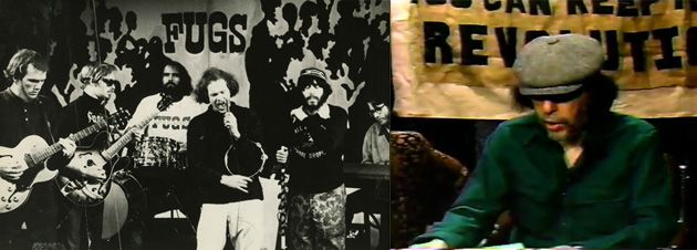 Telling it how it Is: Tuli Kupferberg singing with the Fugs in 1966 (left) and on his YouTube channel, tulifuli, presenting his Daily Preverb (right).