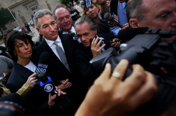 Sins of the Father: Charles Kushner (center), on his way to a court hearing in Newark, New Jersey, where he pleaded guilty to federal witness tampering. Charles Kushner's wife, Seryl, has been a major donor to Trump's campaign.