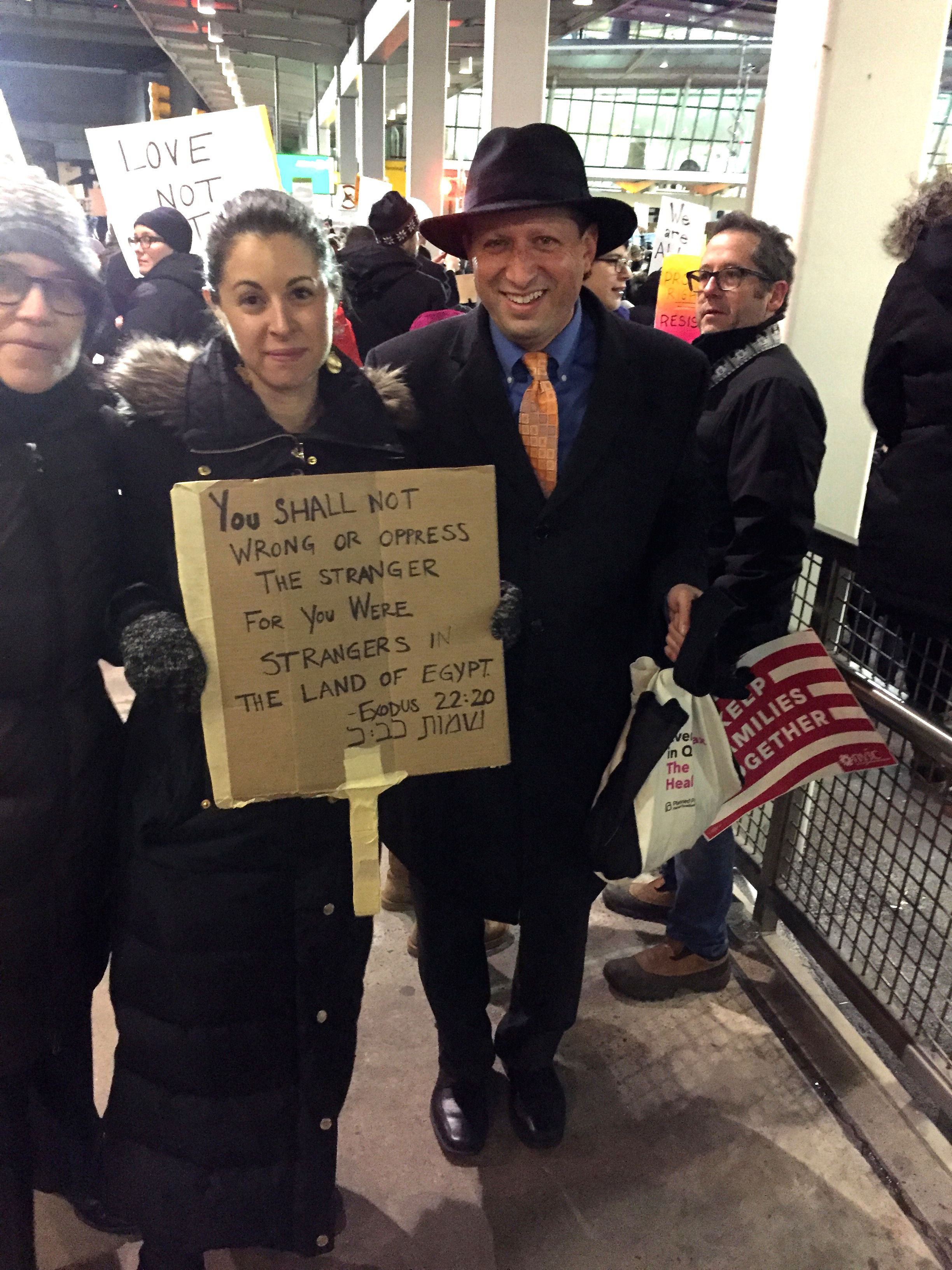 Brad Lander and a rabbi friend posted President Donald Trump's ban on immigrants from seven majority-Muslim countries.