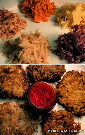 SPUDS: On his quest to find the ideal potato for latkes, the author tested five varieties. Top, grated potatoes await the frying pan; bottom, latkes served with caviar.