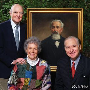 KIN: William L. Bernard, June Rossbach Bingham Birge and John L. Loeb Jr. pose with a portrait of their great-grandfather, Mayer Lehman.