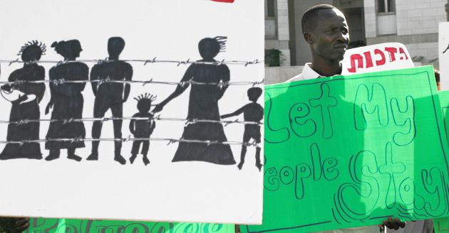 Let My People Stay?: Sudanese protesters held signs outside the Israeli prime minister?s residence in Jerusalem in 2007 demanding that individuals fleeing Darfur be allowed to stay in Israel.