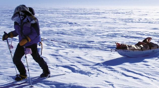 Into The Void: Alison Levine drags her sled toward the South Pole.