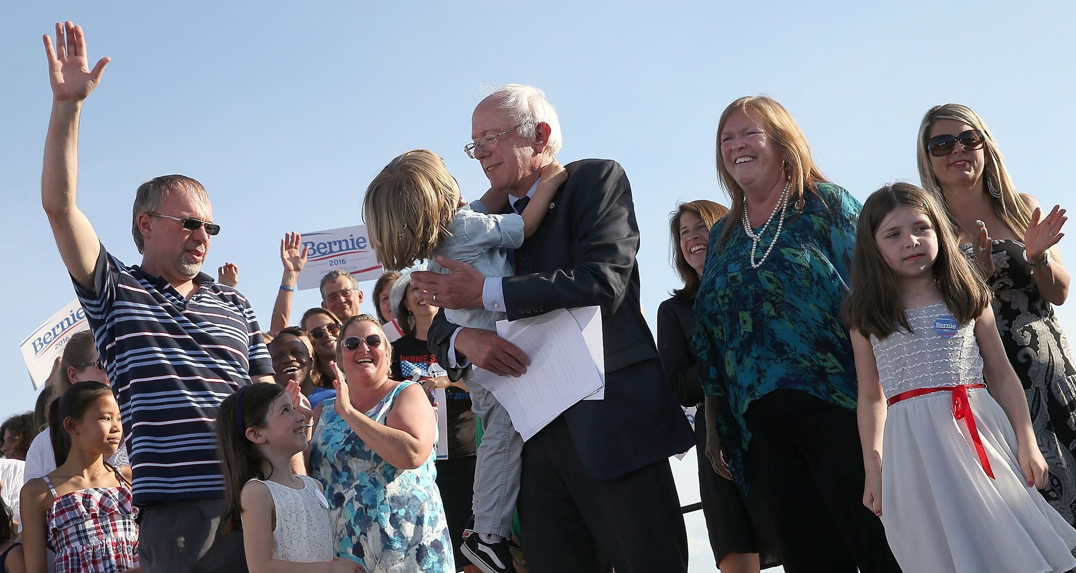 Family Moment: Levi Sanders (far left) shares the stage with other members of his family in Burlington, Vermont, after Bernie Sanders (center) announces his run for  the presidency.