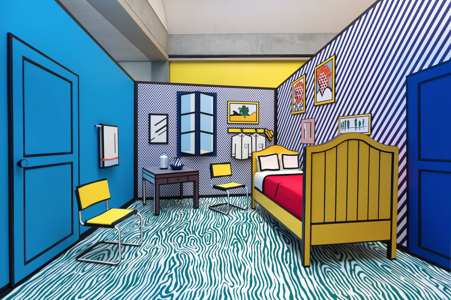 Roy Lichtenstein's re-imagination of Vincent van Gogh's Bedroom at Arles,