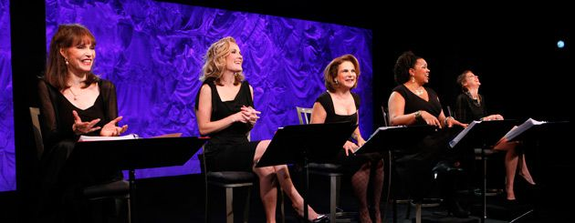 Women and Wardrobes: From left, Barbara Feldon, Erin Dilly, Tovah Feldshuh, Aisha de Haas and Ashley Austin Morris starred in the anniversary production of ?Love, Loss, and What I Wore.?
