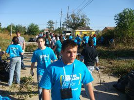 Volunteers attending the General Assembly of the Jewish Federations of North America cleared overgrowth in the Lower 9th Ward.