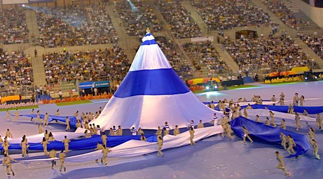 Opening Ceremony: Dancers perform at the opening event of the 2011 Maccabiah Games in Jerusalem. This year, 8,000 athletes will compete in the ?Jewish Olympics.?