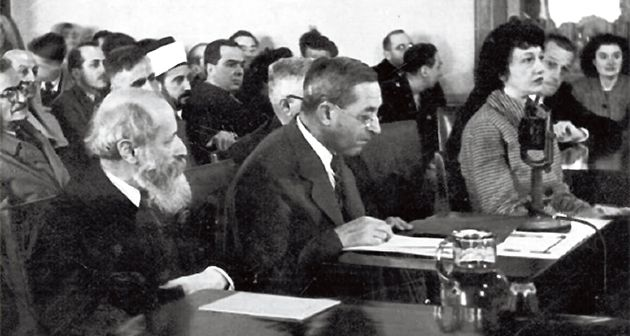 Bearing Witness: Judah Magnes (center) testifies with Martin Buber (left) at the Anglo-American Committee of Inquiry in Jerusalem in 1946.