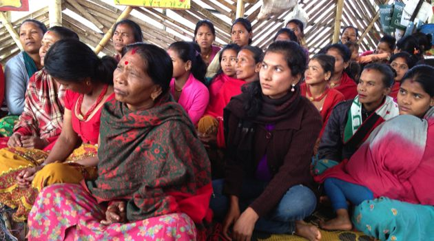 Encounter: Women in Mahadev Besi meet with the Tevel b'Tzedek board.