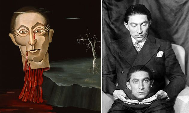 The Many Faces of Fondane: Man Ray made a photographic portrait of Fondane with two heads (right) but Victor Brauner?s oil portrait has Fondane as a beheaded Holofernes.