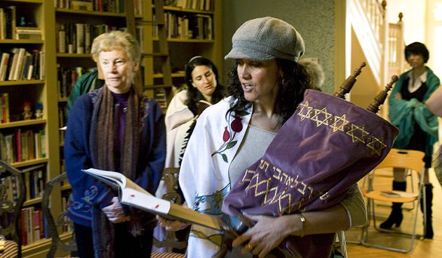 Solidarity: Andrea Rae Markowicz holds a Torah at a women?s service in Manhattan.