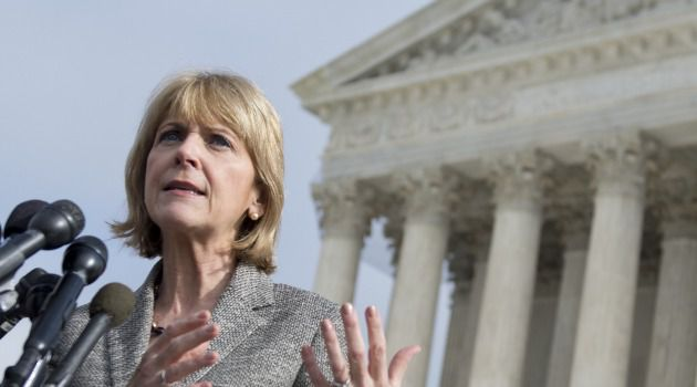 Massachusetts Attorney General Martha Coakley speaks to the media outside the US Supreme Court following oral arguments in the case of McCullen v. Coakley.