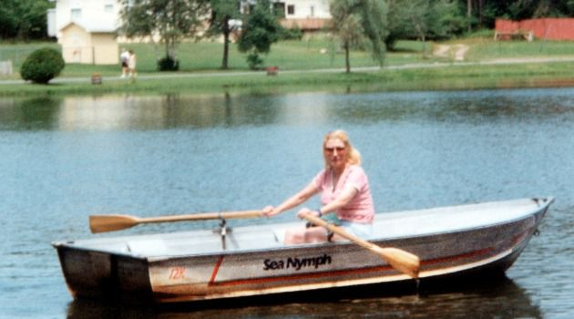 "Masha Leon rowing the ""Sea Nymph"" at Kutcher's."