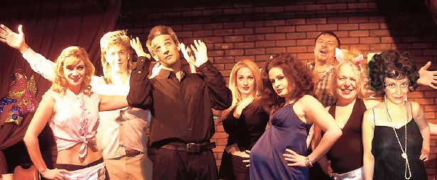 Stage Bio: The cast of ?702 Punchlines and Pregnant? features Jackie Mason?s daughter (center, in purple dress) playing her mother.