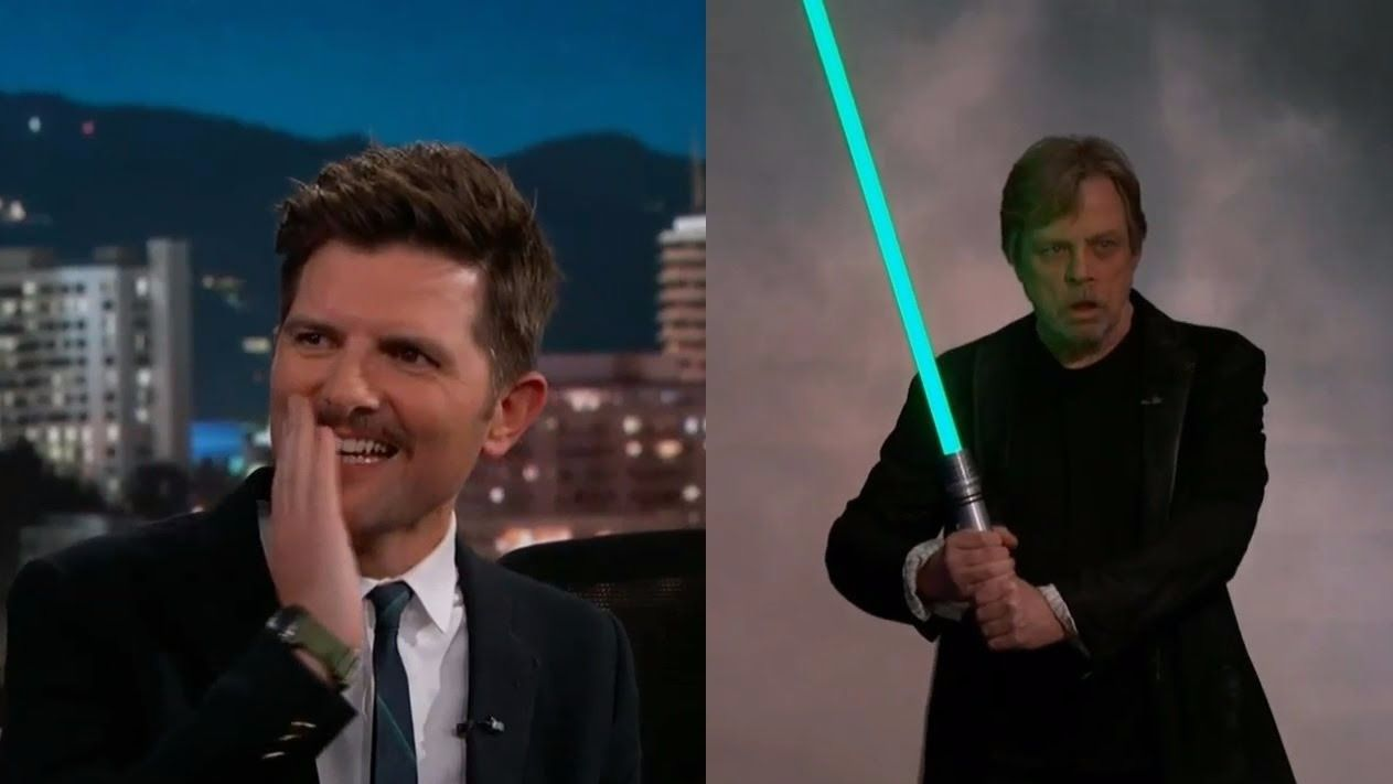 Mark Hamill surprises Star Wars fan Adam Scott on Jimmy Kimmel Live