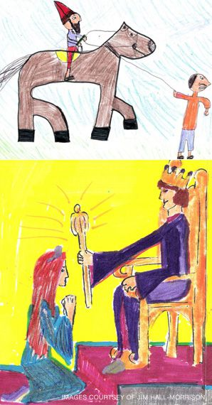Biblical Scenes: A drawing by Jessica Berson shows Haman leading Mordechai through the streets (top left), and a work by Ashley Fisher-Tannenbaum depicts Esther going to the King.