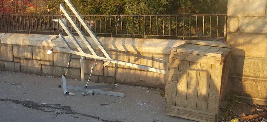 The vandalized menorah near Gracie Mansion.