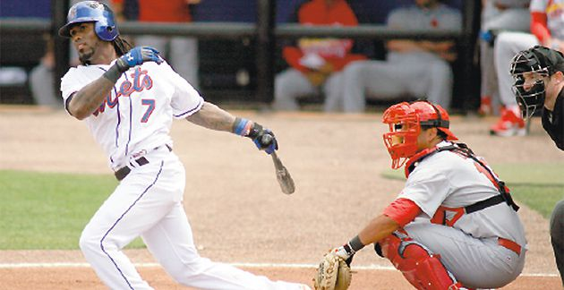 Spring Training: Shortstop Jose Reyes of the Mets bats against the St. Louis Cardinals at Digital Domain Park.