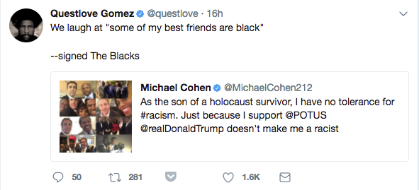 """The blacks"" aren't letting Michael Cohen get away with this."