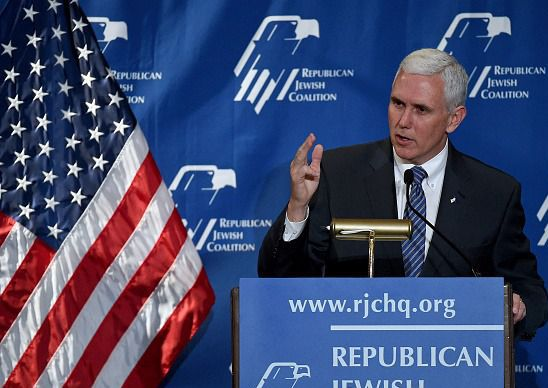Indiana Gov. Mike Pence addresses the Republican Jewish Coalition at their spring conference in 2015.