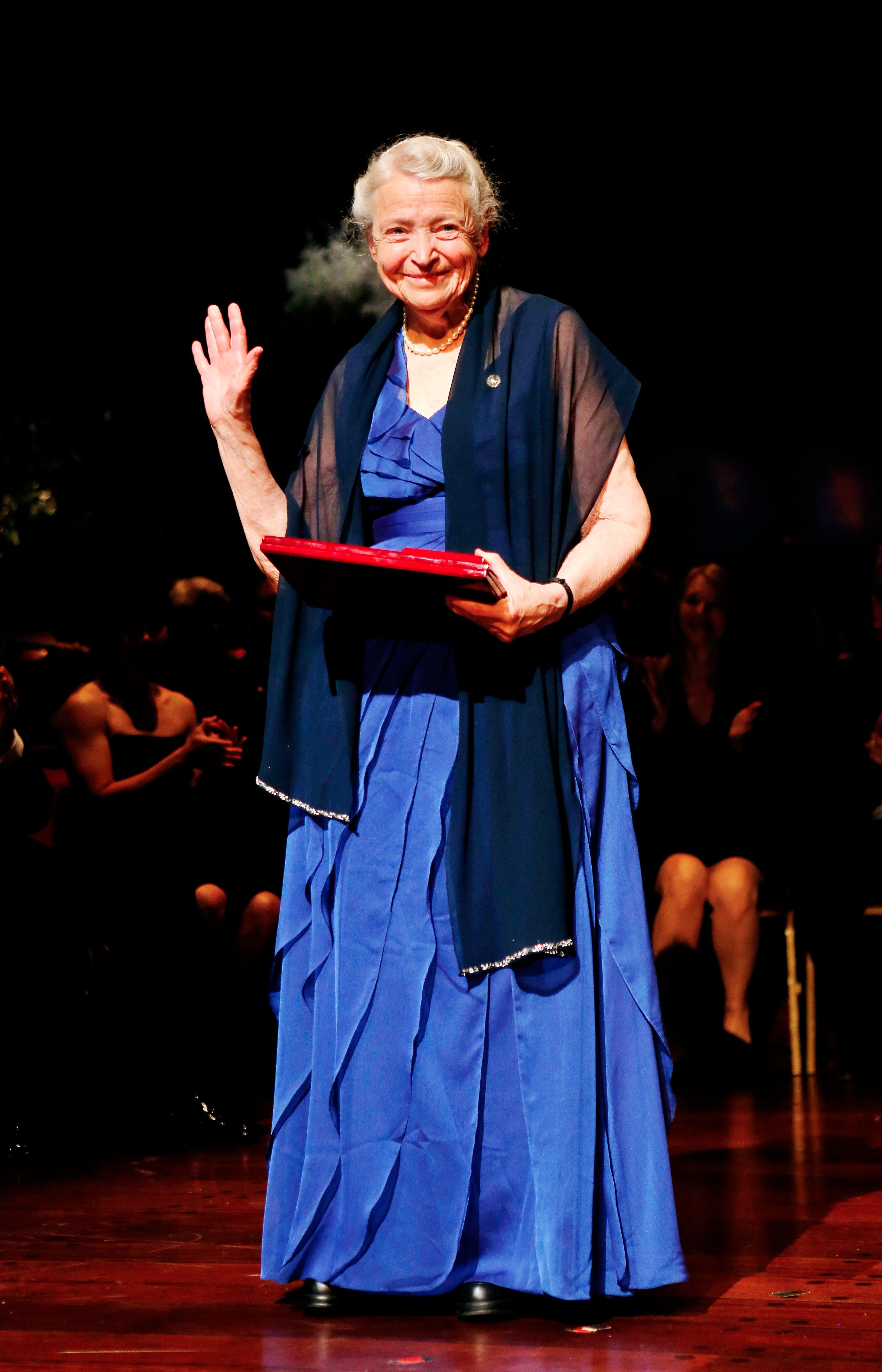 Mildred S. Dresselhaus of the Massachusetts Institute of Technology, USA, stands on stage after receiving the prestigious 2012 Kavli prize for nanoscience, in Oslo, on September 4, 2012. AFP/Getty Images