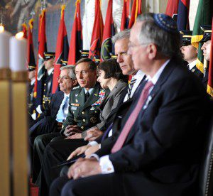 Paying Respect: General David Petraeus speaks with Sara J. Bloomfield, directer of the United States Holocaust Museum, at the annual Holocaust Day of Rememberance ceremony in Washington. Michael Oren, Israel?s ambassador to the United States, sits to Bloomfield?s left.