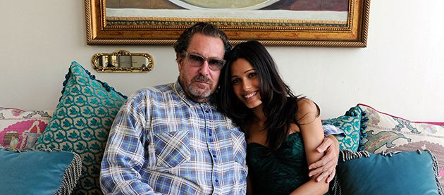 Star Power: Julian Schnabel with Freida Pinto, who appears in the film.