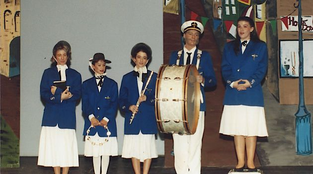 Half-Jewish Missionary: Brook Wilensky-Lanford (with flute) performs in a high school play.