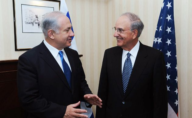 Not There Yet: Israeli Prime Minister Benjamin Netanyahu (left) met with U.S. envoy George Mitchell in London, with inconclusive results.