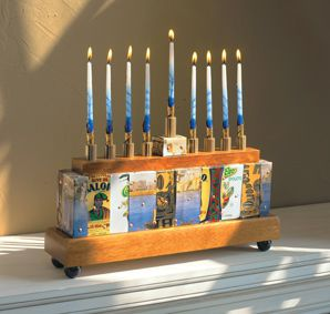 Several eco-friendly menorahs, made from recycled and natural materials, are available this year.