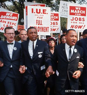 BROTHERS IN ARMS: Rabbi Joachim Prinz (far left) leads the March on Washington in 1963 with Reverend Martin Luther King, Jr.