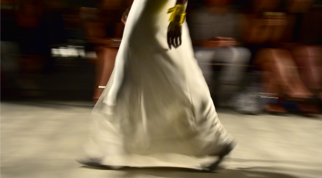Covered Up: A model walks the runway at the Angel Sanchez fashion show during New York Fashion Week.