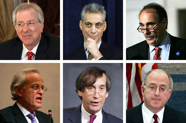 In the Line of Fire: Top row, from left: Dennis Ross, Rahm Emanuel, David Axelrod. Bottom row, from left: Martin Indyk, Aaron David Miller, Daniel Kurtzer.