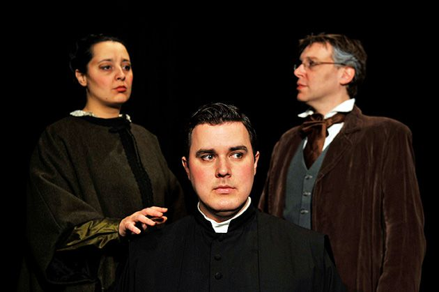 My Son, the Father: Marianna Mortara (Iulia Merca) reaches out to her son, Edgardo (Christopher DeVage), while her husband Salomone Mortara (Peter Furlong) watches.