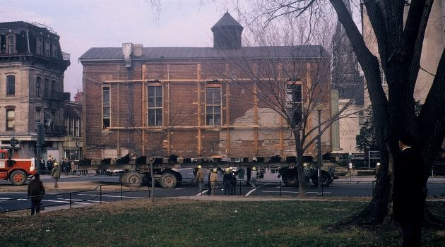 Synagogue being moved in 1969.