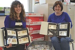 Special education teacher Janna Freishtat (left) and English teacher Cyndie Fagan have been instrumental in moving the Six Million Stamps Project forward.