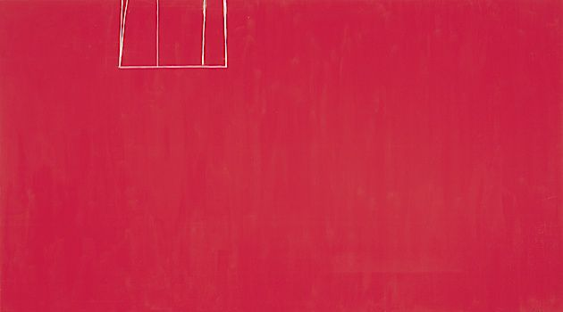 Red Mystery: Robert Motherwell's 1970 painting 'Open No. 153: In Scarlet with White Line.'