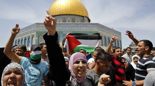 Celebrate or Mourn?: On Nakba Day, Palestinians gathered in front of the Dome of the Rock.