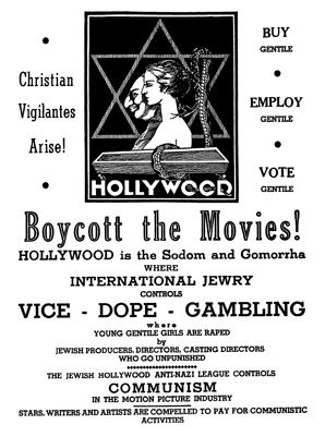 FLICK HORROR: In 1938, an antisemitic leaflet was circulated in theaters in the Midwest and along the streets of Los Angeles