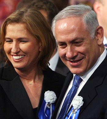 Just Keep smiling: So far, Kadima?s Tzipi Livni, left, has balked at backing Likud?s Benjamin Netanyahu, right, in a unity government.