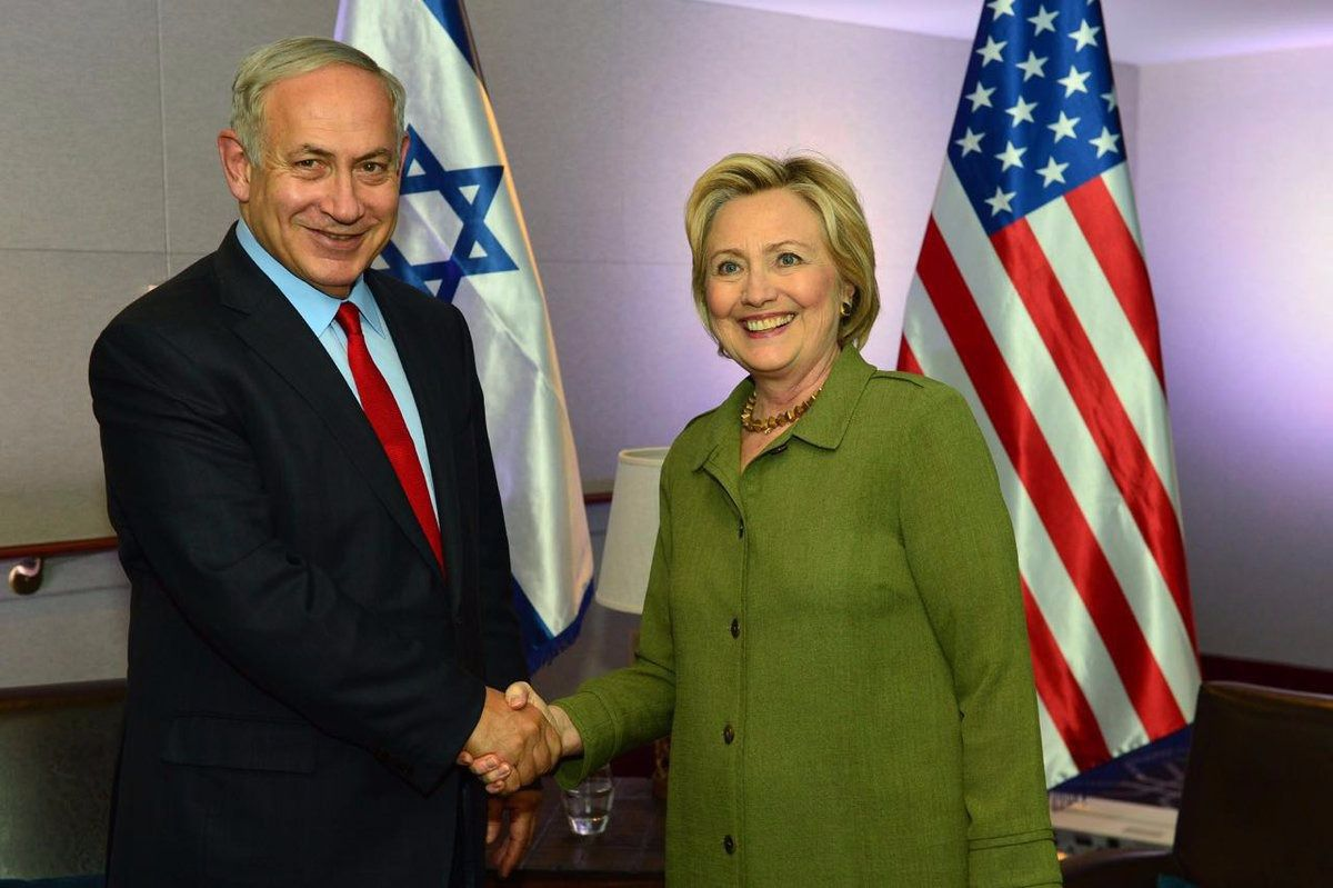 Israeli prime minister Benjamin Netanyahu and Democratic presidential candidate Hillary Clinton meeting in New York September 25