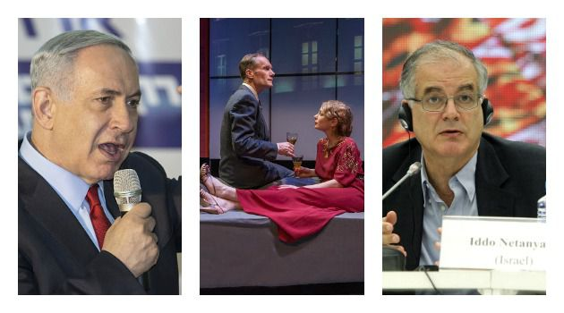 "Political Theatrics: From left: Benjamin Netanyahu; Curzon Dobell and Carmit Levité in Iddo Netanyahu's play ""A Happy End""; Iddo Netanyahu"